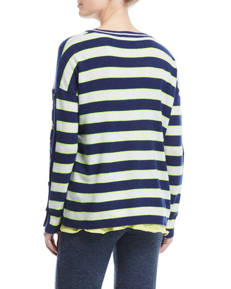 Stripe Cashmere Button-Sleeve Sweater, Plus Size