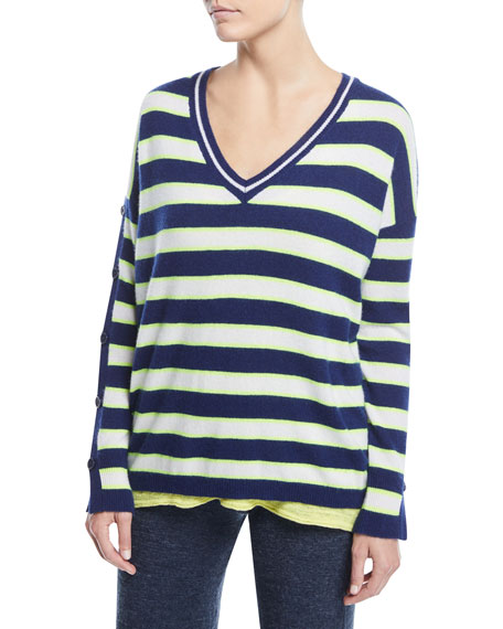 Minnie Rose Stripe Cashmere Button-Sleeve Sweater, Plus Size