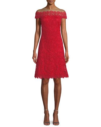 Off-the-Shoulder Lace A-Line Cocktail Dress