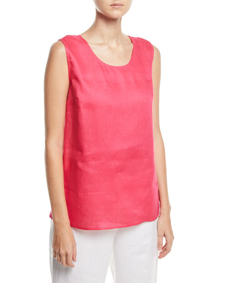 Caroline Rose Tissue-Linen Long Tank Top, Petite