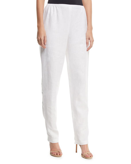 Caroline Rose Slim-Leg Linen Pants