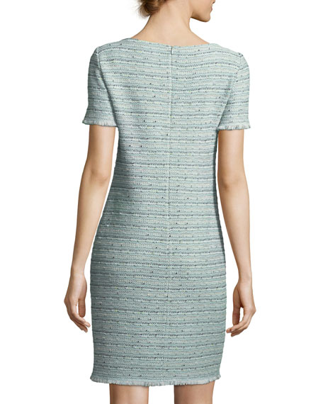 Riana Multi-Tweed Split-Neck Dress