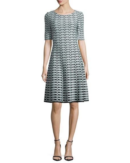 Textural-Grid-Knit Fit-and-Flare Dress