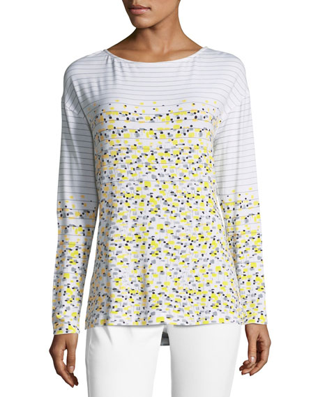 Long-Sleeve Linear Tweed-Print Top