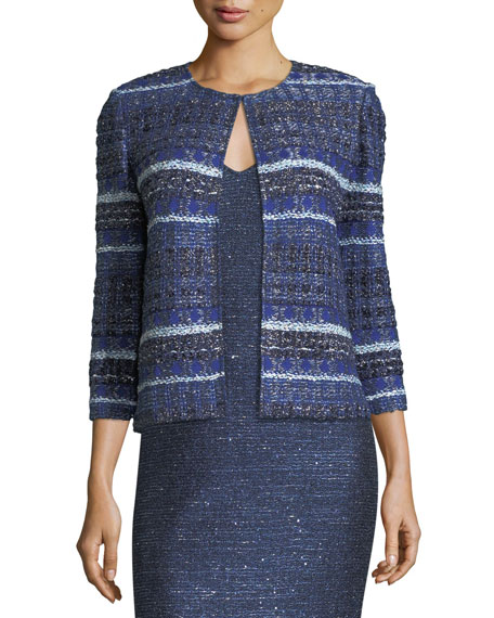 St. John Collection Encased Sparkle Knit V-Neck Cocktail
