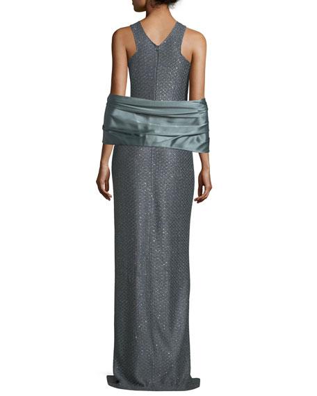 Crossover Halter Sequin Column Gown