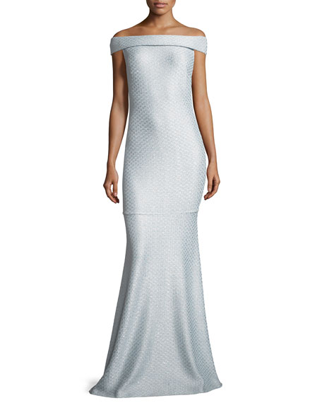 St. John Collection Hansh Off-the-Shoulder Knit Gown
