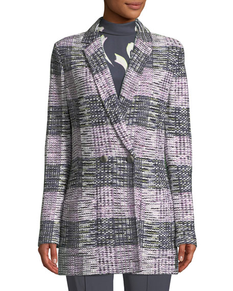 Anna Long Plaid-Knit Blazer