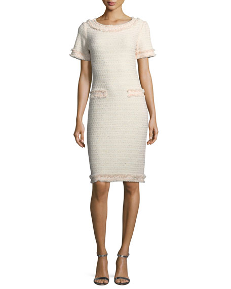 St. John Collection Lais Metallic-Knit Dress w/Fringe Trim