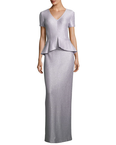 St. John Collection Hansh Sequin Peplum Gown