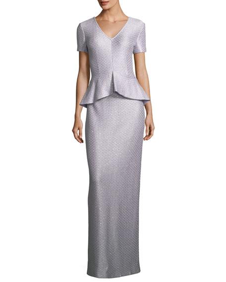 Hansh Sequin Peplum Gown