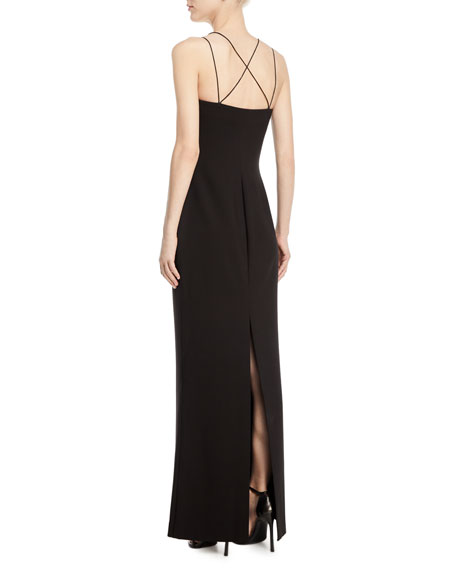 Maretta Strappy-Back Square-Neck Gown