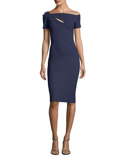 Anusha Cutout Asymmetric Sheath Cocktail Dress