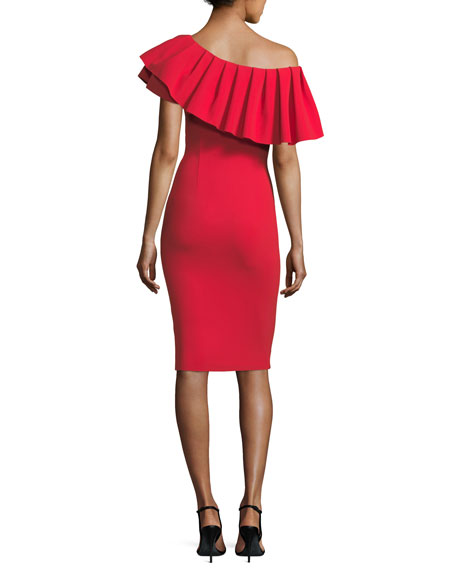 Indira Pleated Asymmetric Cocktail Dress