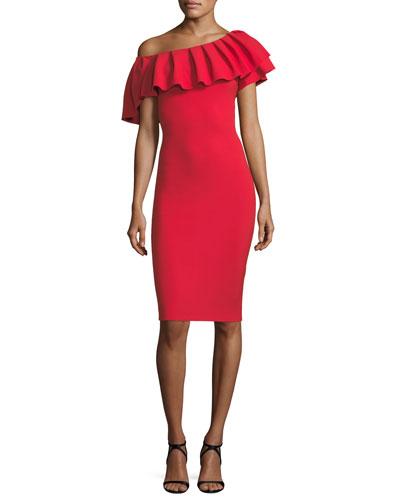Indira Pleated Asymmetric Cocktail Dress