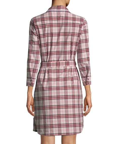 Agna Pink Check Shirtdress w/ Lace Trim