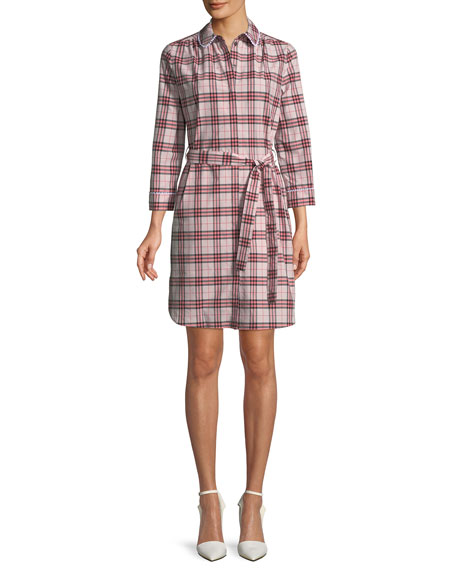 Burberry Agna Pink Check Shirtdress w/ Lace Trim