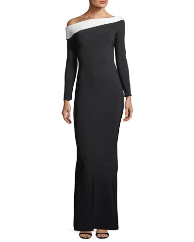 Bicolor Asymmetric Long-Sleeve Gown