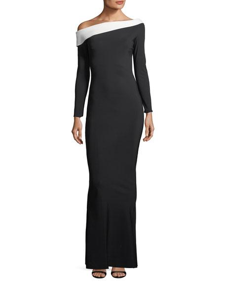 Chiara Boni La Petite Robe Bicolor Asymmetric Long-Sleeve