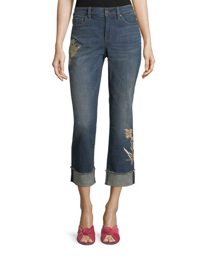 Marilyn Floral-Applique Ankle Jeans