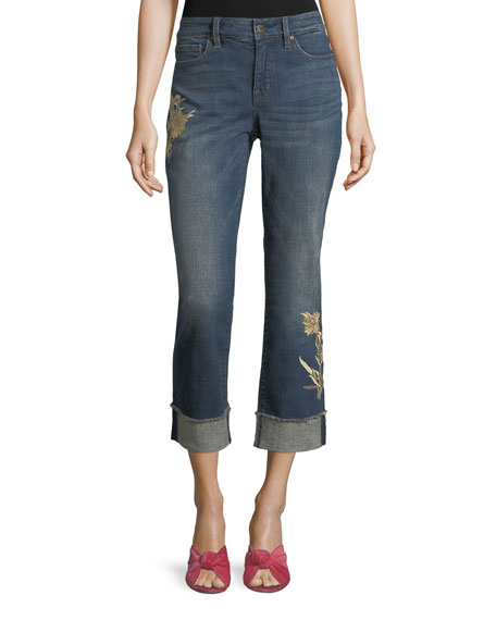 NYDJ Marilyn Floral-Appliqué Ankle Jeans