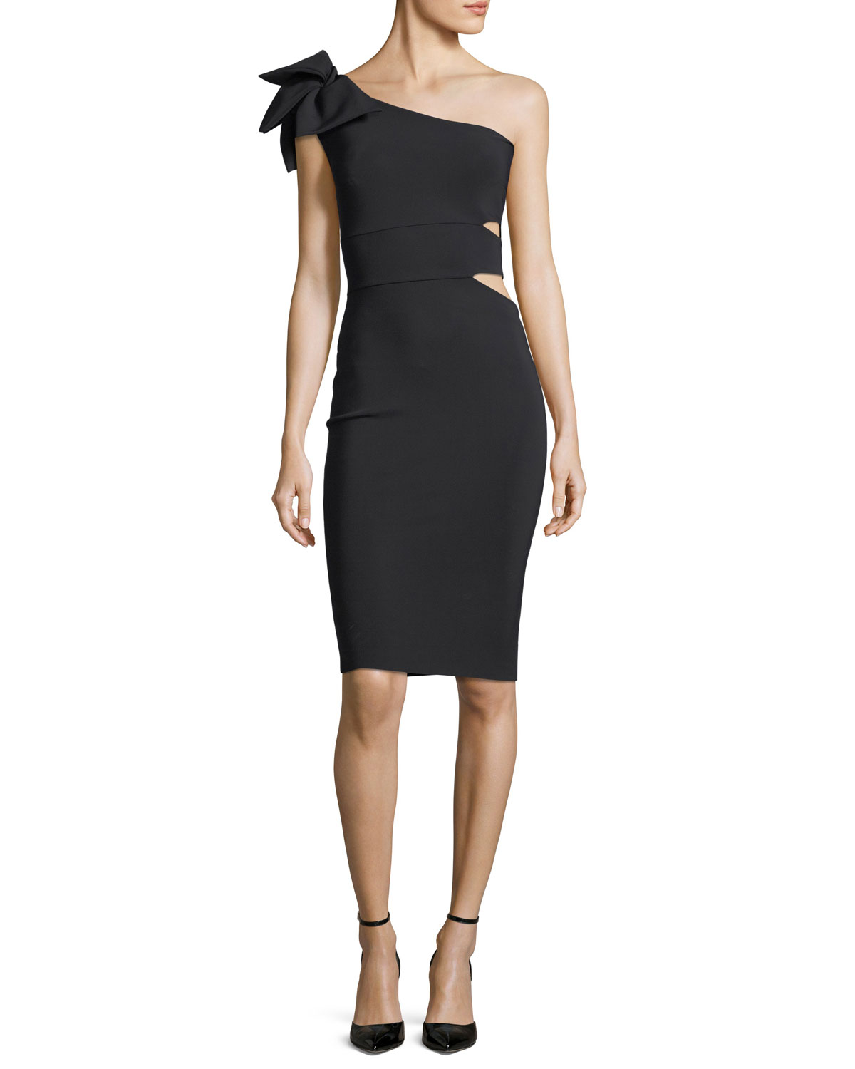 0c11b2a6 Chiara Boni La Petite Robe Tashline One-Shoulder Bow Cutout Cocktail Dress