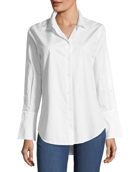 Equipment Rossi Button-Down Flare-Cuff Poplin Shirt