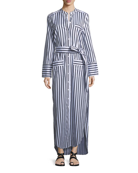 Equipment Britten Button-Front Striped Poplin Maxi Dress