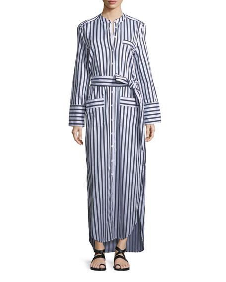Equipment Britten Button-Front Striped Poplin Maxi Dress
