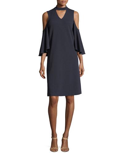 Textured Cutout Flutter-Sleeve Dress, Plus Size