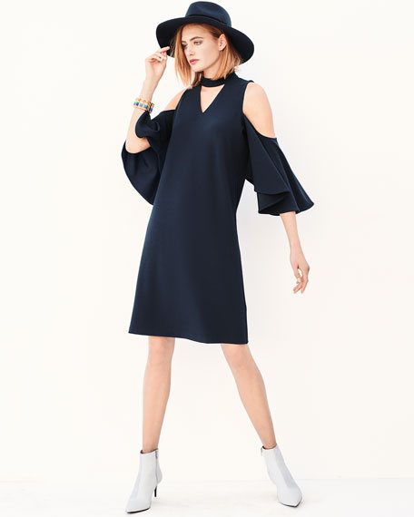 Textured Cutout Flutter-Sleeve Dress, Petite