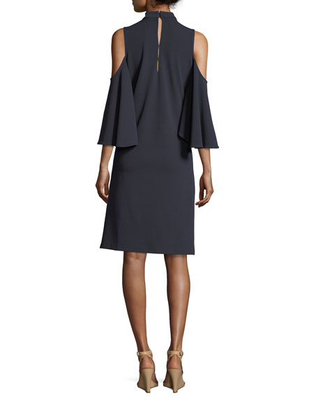 Textured Cutout Flutter-Sleeve Dress