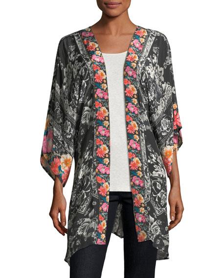 Mona Kimono with Border Print, Plus Size