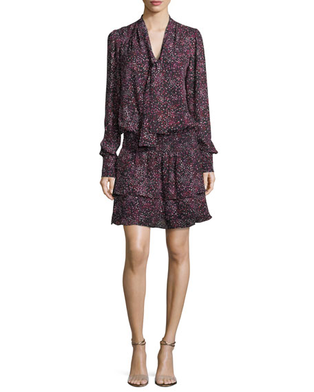 Marybeth Tie-Neck Long-Sleeves Printed Silk Dress