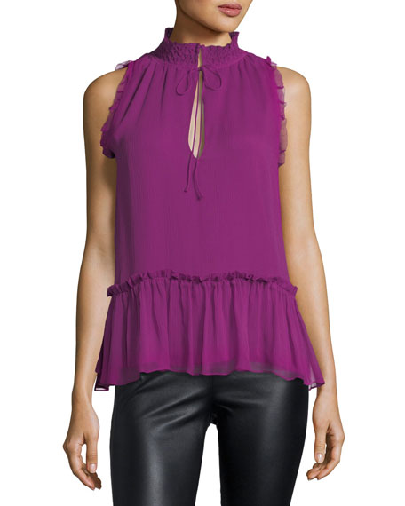 Parker Ray Tie-Neck Sleeveless Silk Blouse