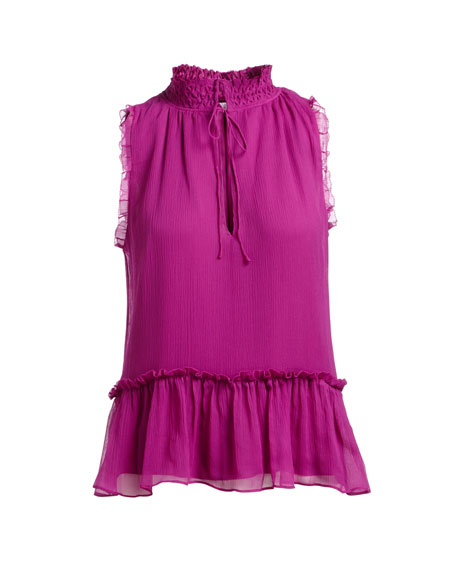 Ray Tie-Neck Sleeveless Silk Blouse