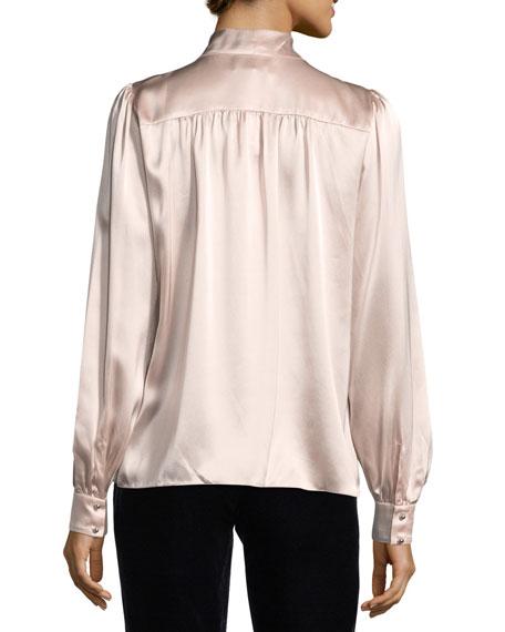 Kinsley Tie-Neck Long-Sleeve Silk Satin Blouse