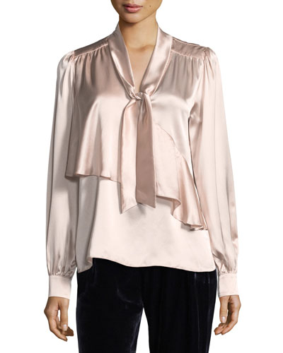 Kinsley Tie-Neck Long-Sleeve Silk Satin Blouse
