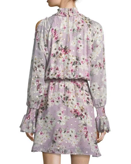Shelli Floral-Print Silk-Metallic Short Dress