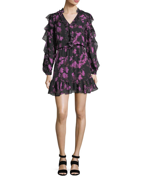 Zinnia V-Neck Ruffled Floral-Print Silk Dress