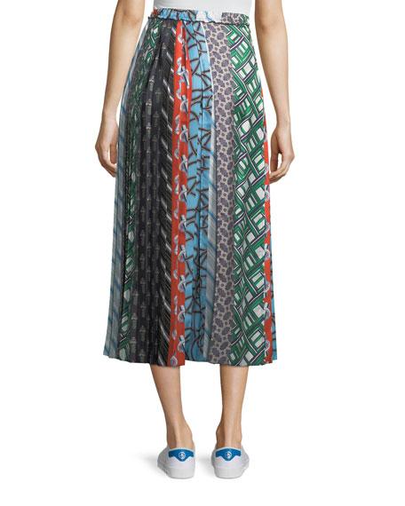 Mixed-Print A-Line Silk Skirt
