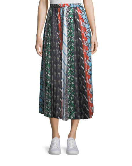 Carven Mixed-Print A-Line Silk Skirt