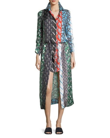 Mixed-Print Long-Sleeve Silk High-Low Dress