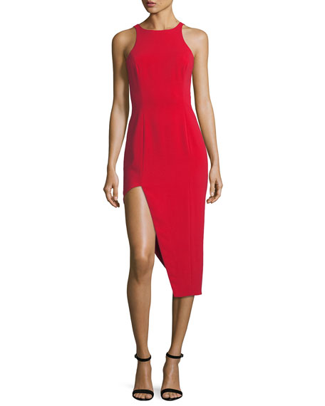 Jay Godfrey Pine V-Back Asymmetric Skirt Dress