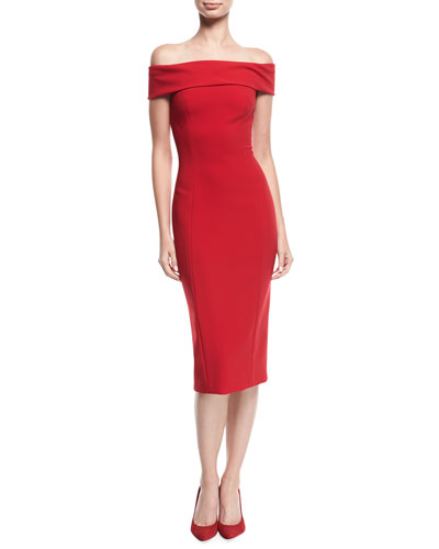 Off-the-Shoulder Cap-Sleeve Cocktail Sheath Dress