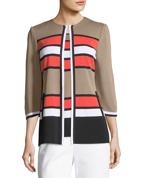 Unexpected Stripes 3/4-Sleeve Jacket, Petite
