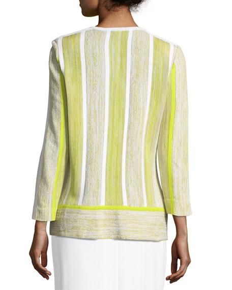Open-Front Melange Mix Jacket
