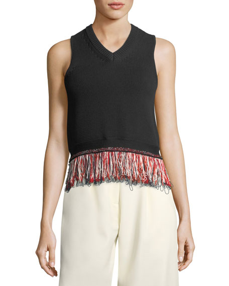 Carven V-Neck Sleeveless Knit Tank Top with Fringed-Hem