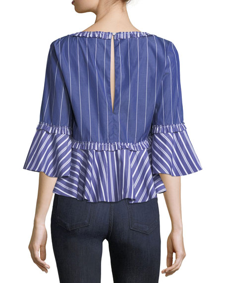 Fran Wide V-Neck Mixed-Striped Poplin Top