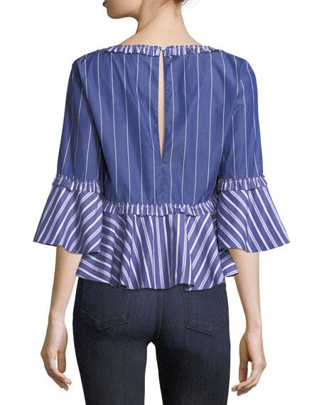 Fran Wide V-Neck Mixed-Striped Poplin Top